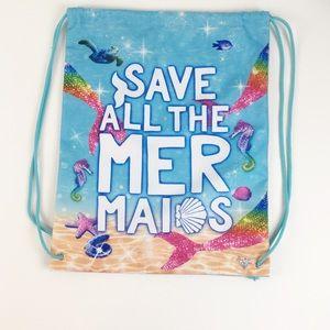 NWOT Justice Save All The Mermaids Drawstring Bag